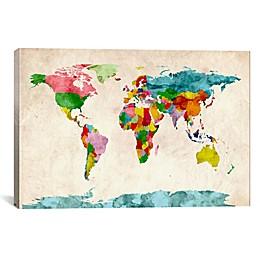 World Map Watercolor III 26-Inch x 18-Inch Canvas Wall Art