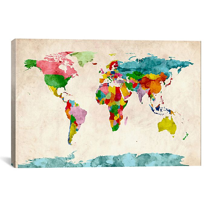 World Map Watercolor III 18-Inch x 12-Inch Canvas Wall Art ... on world maps history, world maps religion, old world map sale, world maps france, world maps software, world map globe sale, world maps games, world maps art, world maps furniture, world maps books,