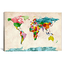 World Map Watercolor III 40-Inch x 26-Inch Canvas Wall Art