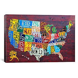License Plate Map USA 60-Inch x 40-Inch Canvas Wall Art