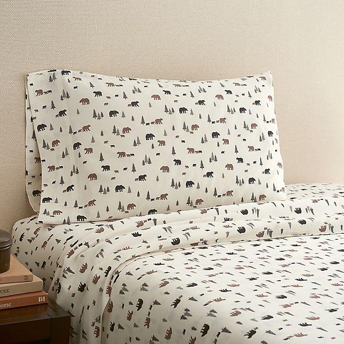 Alternate image 1 for Hidden Retreat 300-Thread-Count Lodge Bear Full Sheet Set in Chocolate