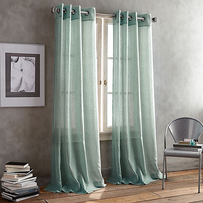 Alternate image 1 for DKNY Parkside Grommet 95-Inch Window Curtain Panel in Aqua