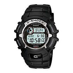Casio G-SHOCK Men's 46mm Solar Atomic Digital Watch in Black with White Detail and Black Strap