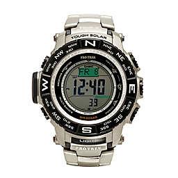 Casio Men's 56mm ProTrek Solar Digital Sport Watch in Stainless Steel with Titanium Bracelet