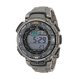 Casio Men's 51mm ProTrek Triple Sensor Solar Watch in Grey Stainless Steel and Titanium Bracelet