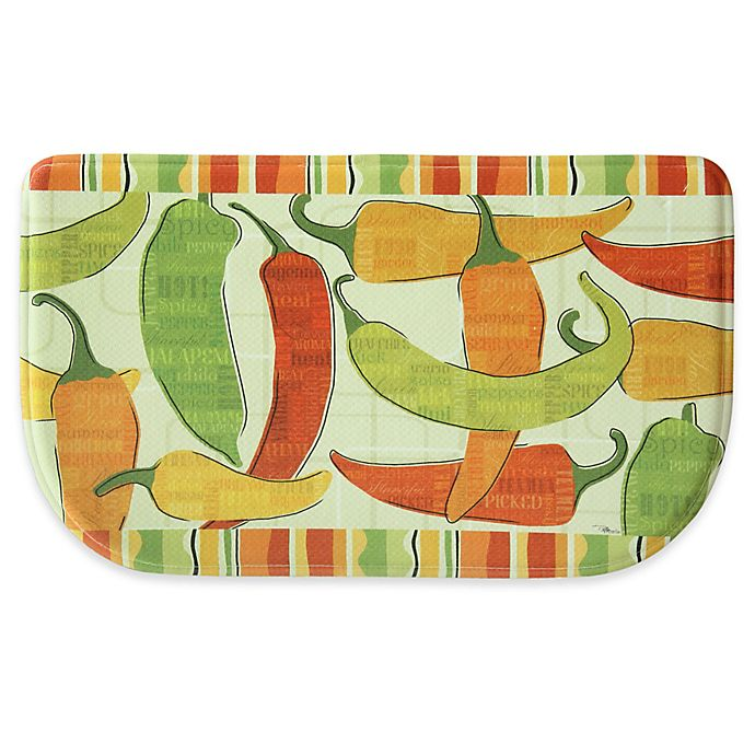 Alternate image 1 for Bacova 18-Inch x 30-Inch Spicy Peppers Memory Foam Kitchen Mat in Orange/Green