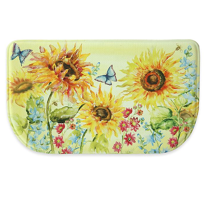 Alternate image 1 for Bacova 18-Inch x 30-Inch Watercolor Sunflower Memory Foam Kitchen Mat in Yellow