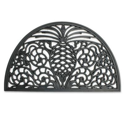18 Inch X 30 Inch Pineapple Rubber Slice Door Mat In Black