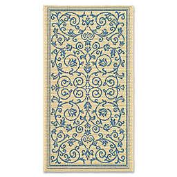 Safavieh Courtyard 2-Foot x 3-Foot 7-Inch Indoor/Outdoor Accent Rug in Natural/Blue