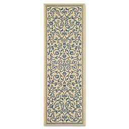 Safavieh Courtyard 2-Foot 3-Inch x 10-Foot Indoor/Outdoor Runner in Natural/Blue