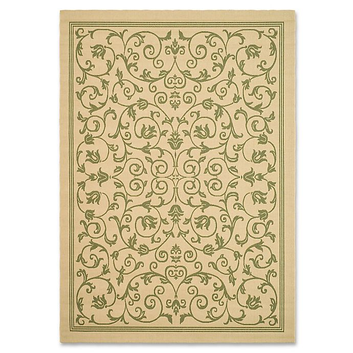 Alternate image 1 for Safavieh Courtyard 2-Foot 7-Inch x 5-Foot Indoor/Outdoor Area Rug in Natural/Olive