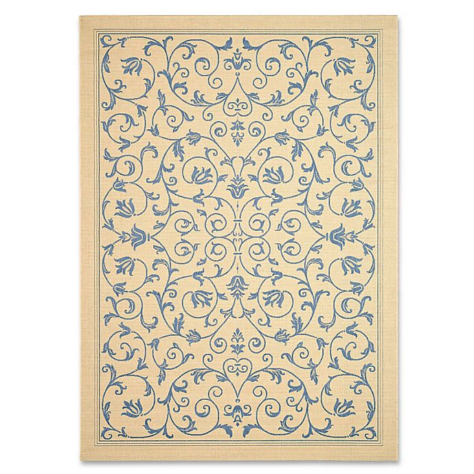 Alternate image 1 for Safavieh Courtyard 4-Foot x 5-Foot 7-Inch Indoor/Outdoor Area Rug in Natural/Blue