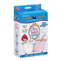 The Original Turbie Twist® Super-Absorbent Hair Towel in White/Light Pink (Set of 2)