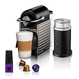 Nespresso® by Breville Pixie Espresso Maker Bundle with Aeroccino Frother in Titanium