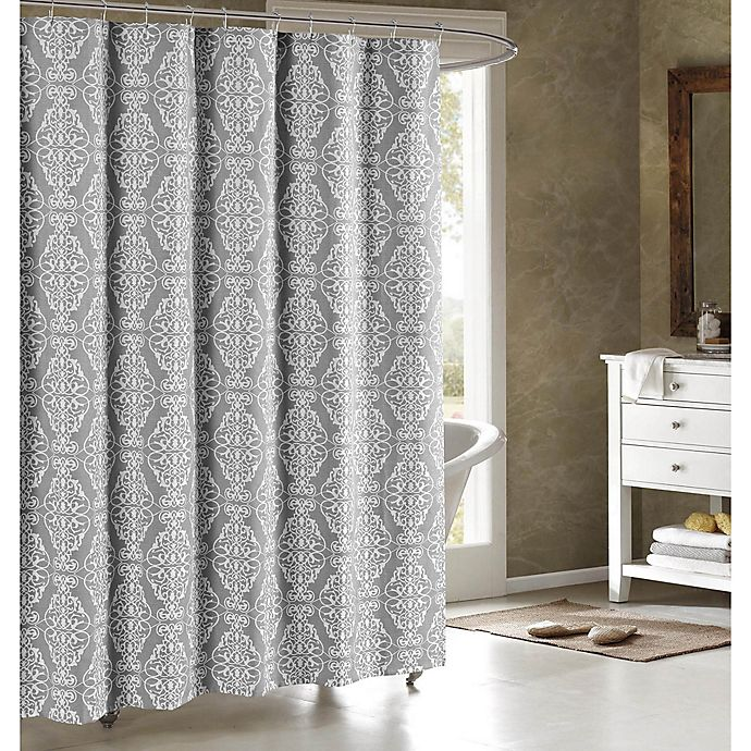 Alternate image 1 for Adisson Cotton-Blend 72-Inch Shower Curtain in Grey