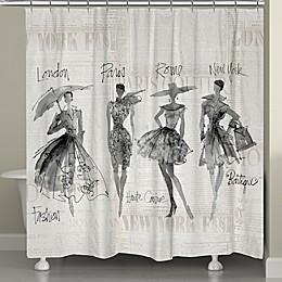 Laural Home® Fashion Sketchbook Shower Curtain in Black/Beige