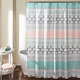 Elephant Stripe Shower Curtain In Turquoise Pink