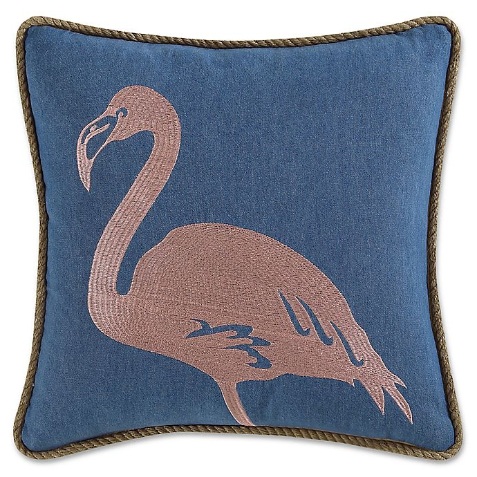Alternate image 1 for Coastal Living® Flamingo Square Throw Pillow in Navy/Pink