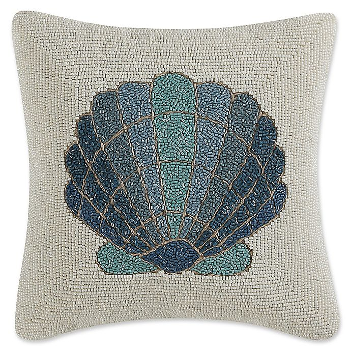 Alternate image 1 for Coastal Living® Beaded Shell Square Throw Pillow in Teal/Ivory