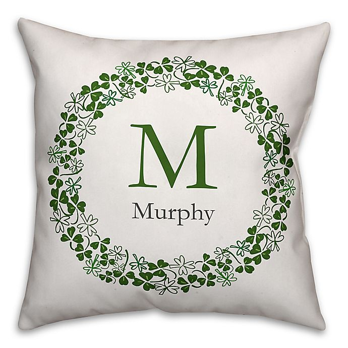 Alternate image 1 for Designs Direct St. Patrick's Day Collection Family Clover Wreath Throw Pillow