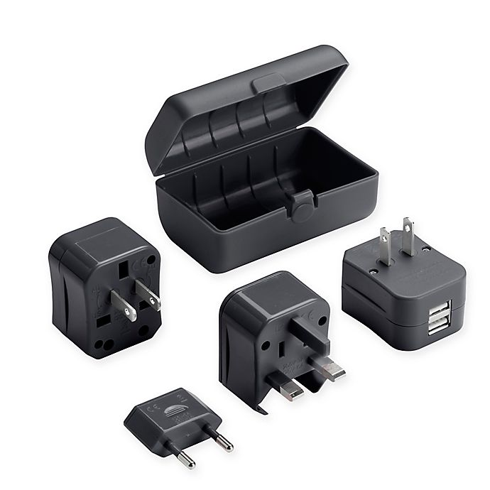 Alternate image 1 for Lewis N. Clark® Adapter Plug Kit with Dual USB Charger in Black