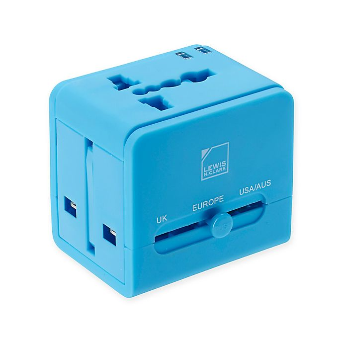 Alternate image 1 for Lewis N. Clark® Global Adapter with Dual USB Charger in Blue