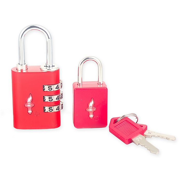 Alternate image 1 for Safe Skies® 2-Piece TSA-Recognized Luggage Lock Set in Red