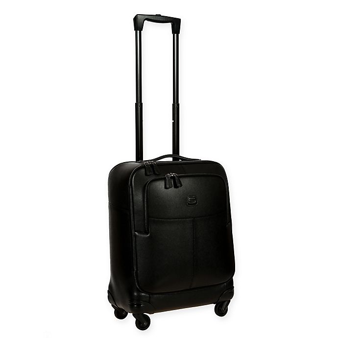 Alternate image 1 for Bric's Varese 21-Inch Leather Carry On Spinner Suitcase in Black