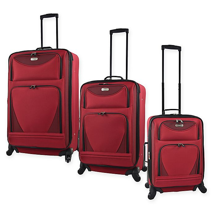 Alternate image 1 for Travelers Club® Sky-View II Expandable Spinner Luggage in Red