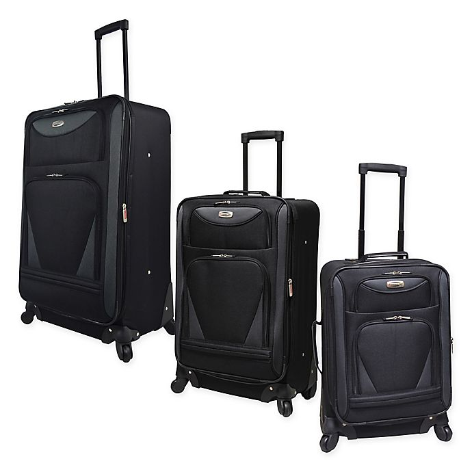 Alternate image 1 for Travelers Club® Sky-View II Expandable Spinner Luggage in Black