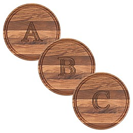 Cutting Board Company 10.5-Inch Round Wood Block Letter Monogram Cheese Board in Walnut