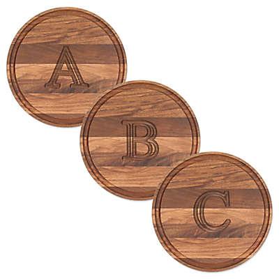 Cutting Board Company 10.5-Inch Round Wood Block Letter Monogram Cheese Board in Walnut