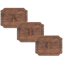 Cutting Board Company 9-Inch x 12-Inch Scalloped Wood Monogram Cheese Board in Walnut
