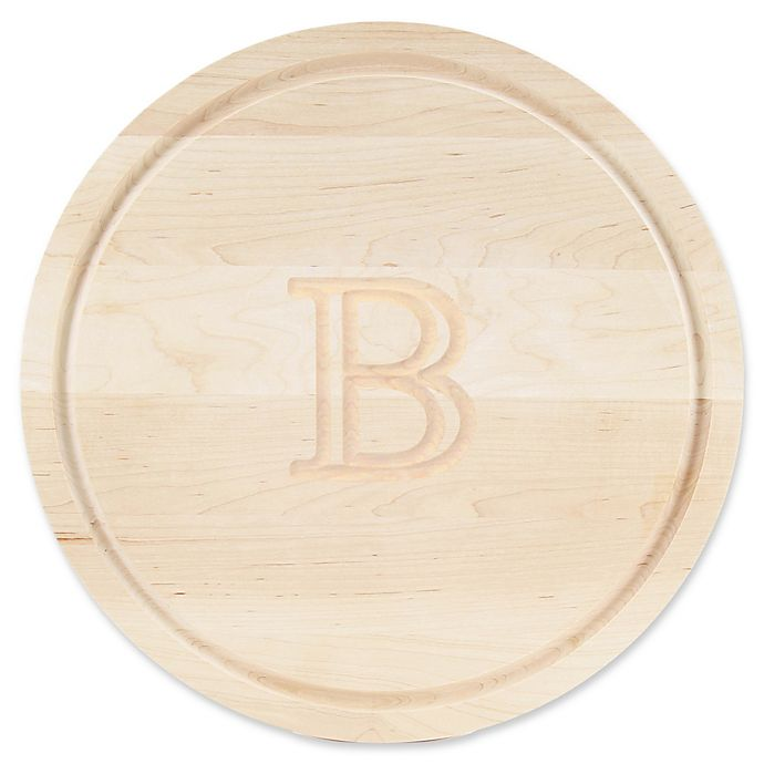 Alternate image 1 for Cutting Board Company 16-Inch Round Wood Monogram Letter \