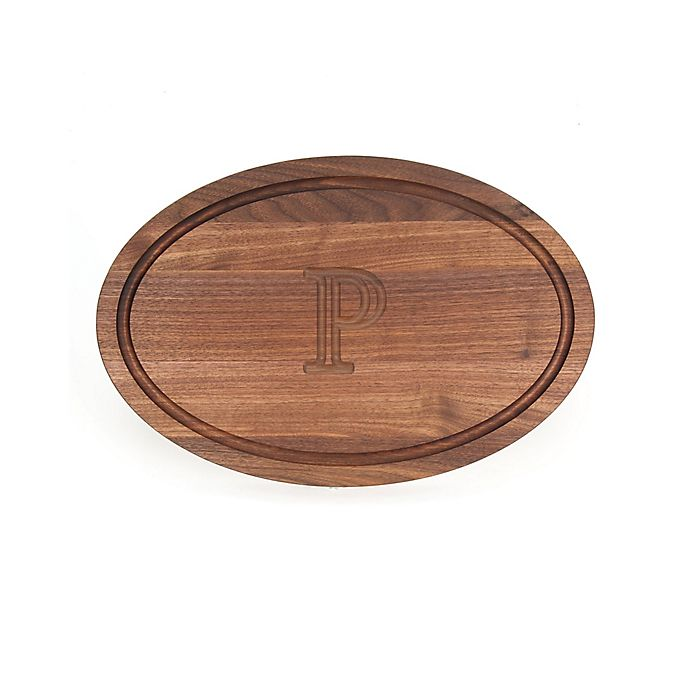Alternate image 1 for Cutting Board Company 12-Inch x 18-Inch Wood Oval Monogram Letter \