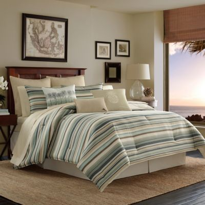 Tommy Bahama 174 Canvas Stripe Reversible Comforter Set In