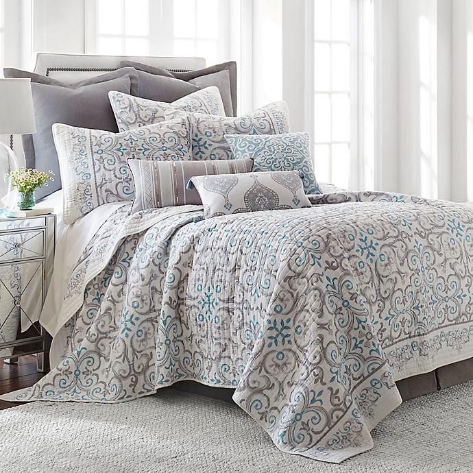 Alternate image 1 for Levtex Home Massana Reversible Full/Queen Quilt Set in Grey/Blue