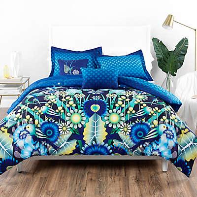 Catalina Estrada Ce Jardin Reversible Comforter Set in Navy/Green