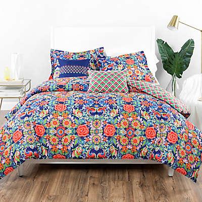 Catalina Estrada Ce Rosal Azul Reversible Comforter Set in Navy/Red