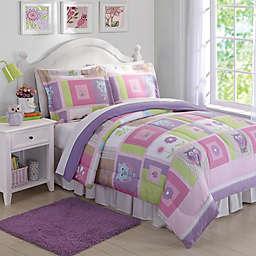 Happy Owls Comforter Set in Pink/Purple