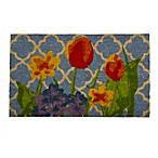 30-Inch x 18-Inch Watercolor Floral Door Mat in Black