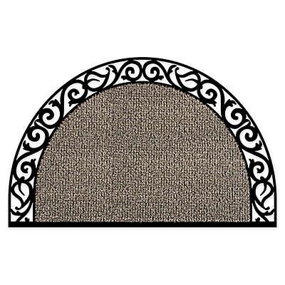 GrassWorx 24-Inch x 36-Inch Half Moon Door Mat in Taupe