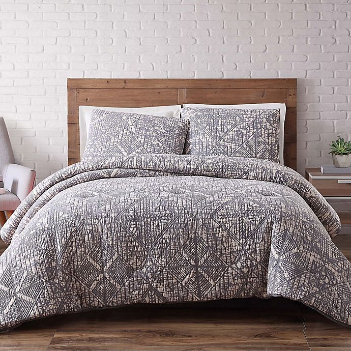 buy brooklyn loom sand washed twin xl duvet cover set in grey from bed bath beyond. Black Bedroom Furniture Sets. Home Design Ideas
