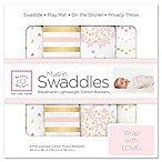 SwaddleDesigns® 4-Pack Heavenly Floral Muslin Swaddles in White/Pink