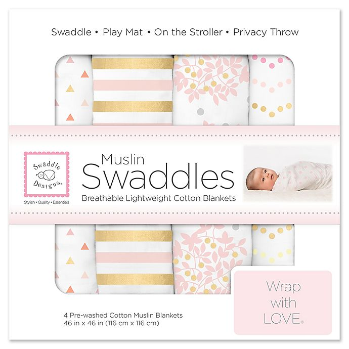 Alternate image 1 for SwaddleDesigns® 4-Pack Heavenly Floral Muslin Swaddles in White/Pink