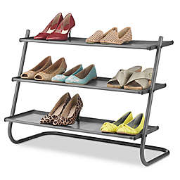 Whitmor 3 Tier Angled Shoe Rack In Gunmetal With Fabric Shelves