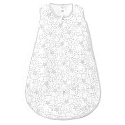 SwaddleDesigns® zzZipMe® Size 6-12M Starshine Muslin Sack in White/Sterling