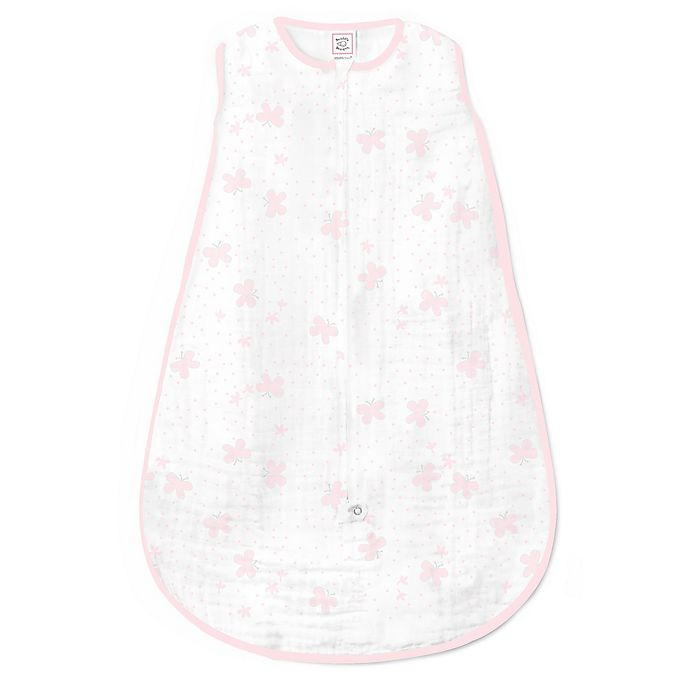 Alternate image 1 for SwaddleDesigns® zzZipMe® Butterflies Muslin Sack in White/Pink