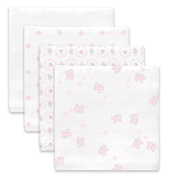 Alternate image 1 for SwaddleDesigns® Butterflies Muslin Swaddle Blanket in White/Pink (Set of 4)