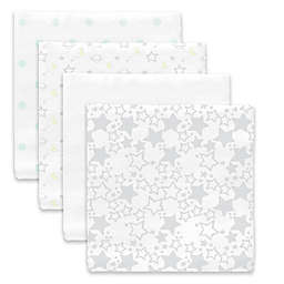 SwaddleDesigns® Goodnight Starshine Muslin Swaddle Blanket in White (Set of 4)